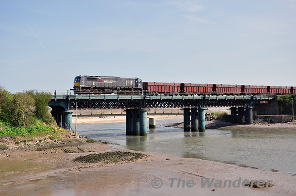 077 crosses the viaduct at Laytown with the early running 1400 Alexandra Road - Tara Mines. Tues 15.04.14